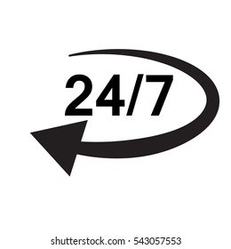 Open 24 7 icon with clock. Open 24 7 sign.