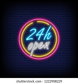 open 24 hour text neon sign and a brick wall background. vector illustration