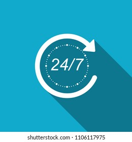 Open 24 hours a day and 7 days a week icon isolated with long shadow. All day cyclic icon. Flat design. Vector Illustration