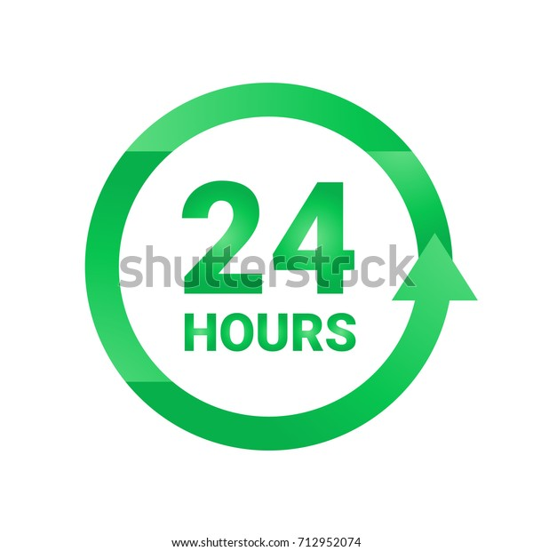Open 24 hours logo sticker or label. Vector Illustration
