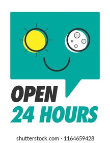 Open 24 Hours. Open Shop 24/7. Vector illustration of sun and moon abstract design