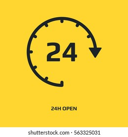 Open 24 hours vector icon. Non stop working shop or service symbol. All day working time sign. Opening times sign. Working around the clock. Store hours