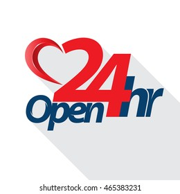 Open 24 hr heart style. Vector illustration.