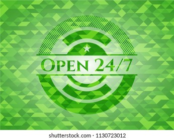 Open 24/7 green emblem with triangle mosaic background