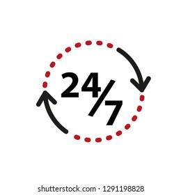 Open 24/7 hour vector template