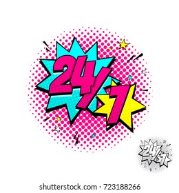 Open 24/7 Hours Blue and Yellow Comic Speech Bubble. Dynamic cartoon symbol isolated on white background. Vector Illustration in Pop Art Style.