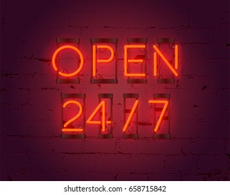 Open 24/7 hours sign on brick wall background. Realistic glowing neon inscription. Vector