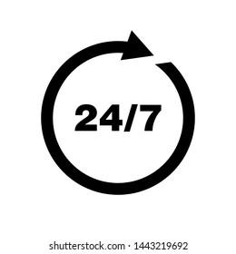 Open 24/7 Icon Vector design Logo Template