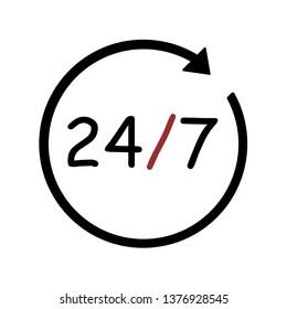 Open 24/7 Icon Vector Logo Flat