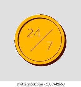 Open 24/7 icon vector logo template