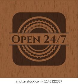 Open 24/7 retro wooden emblem