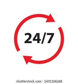 open 24/7 sign in design simple vector