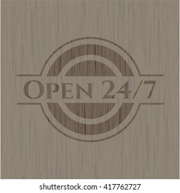 Open 24/7 wood signboards