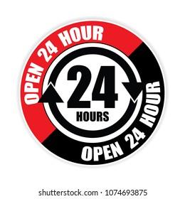 open 24hour sticker,vector illustration