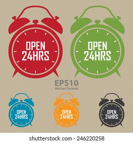 open 24hrs on alarm clock sticker, badge, icon, stamp, label, banner, sign, vector format