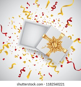 Open 3d realistic gift box with gold ribbon and confetti. Vector illustration.
