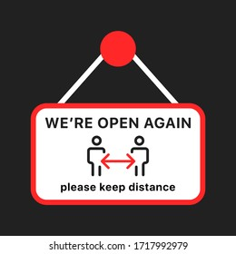 Open again after quarantine, vector illustration of small business owner welcoming customers, information re-opening of shop, service, cafe, restaurant, barbershop are working again, We are Open again