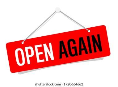 Open again on door sign