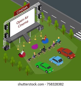 Open Air Cinema Concept 3d Isometric View Include of People, Car Outdoor Summer Night Leisure. Vector illustration of Movie Festival