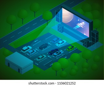 Open air cinema concept. Watching movies outdoors in the city parking lot on a warm summer evening. Isometric vector illustration