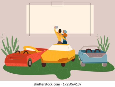 Open air cinema. Outdoor relax, car movie . Dating couples watch movie vector illustration. Urban entertainment, film festival.