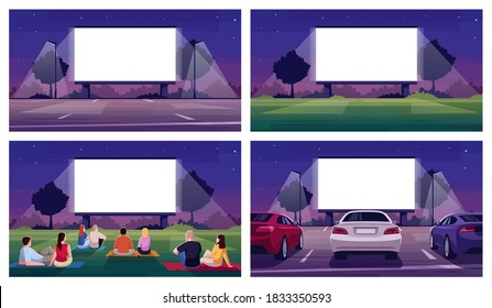 Open air cinema place semi flat vector illustration set. Large blank screen for film projection. Parking lot. Crowd watch movie. Urban movie festival 2D cartoon scenery for commercial use collection - Shutterstock ID 1833350593