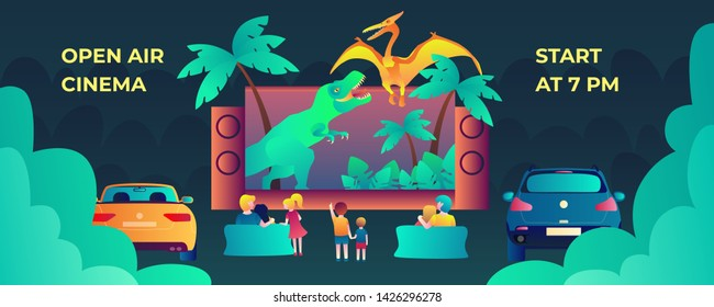 Open air cinema vector banner template with the family and the couple, watching fantastic movie for web and printing.