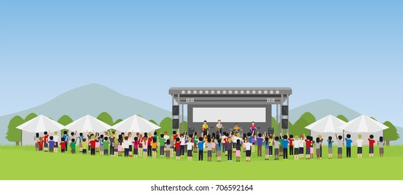 open air concert in outdoor summer music festival with mountain background vector
