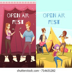 Open air festival singers and audience 2 retro cartoon vertical banners with onstage outdoor show isolated vector illustration