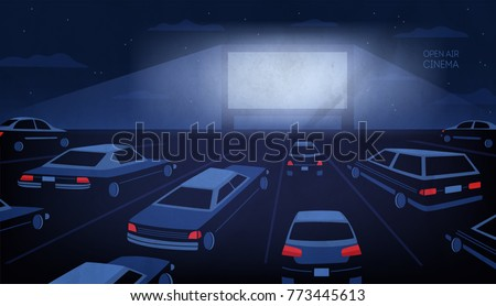 Open Air Outdoor Drivein Cinema Theater Stock Vektorgrafik