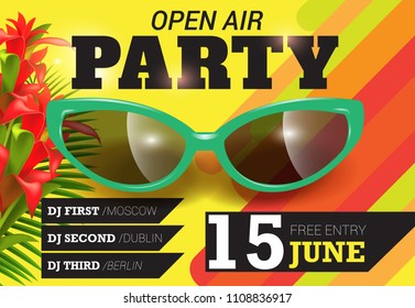 Open air, party, June fifteen lettering with green sunglasses. Summer invitation design. Typed text, calligraphy. For leaflets, brochures, posters or banners.