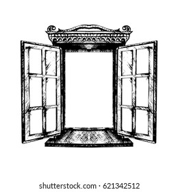 An open antique window. Vector illustration isolated. Monochrome graphics, architecture, exterior. A sketch. Building element, window opening. Style. Vintage. Retro. Old picture of Indian ink.
