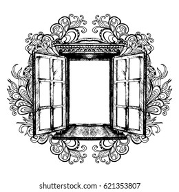 An open antique window. Vector illustration. Monochrome graphics, architecture, exterior. A sketch. Building element, window opening. Style. Vintage. Retro. Old picture of Indian ink. Ornament, art.