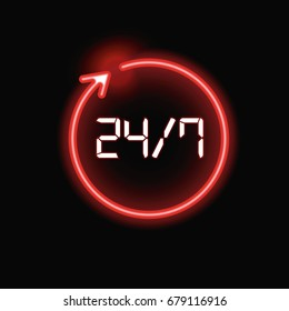 Open around the clock - 24 hours a day, 7 days a week sign, vector red digital luminous illustration isolated on black background