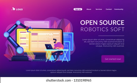Open automation architecture, open source robotics soft, free development concept. Website vibrant violet landing web page template.