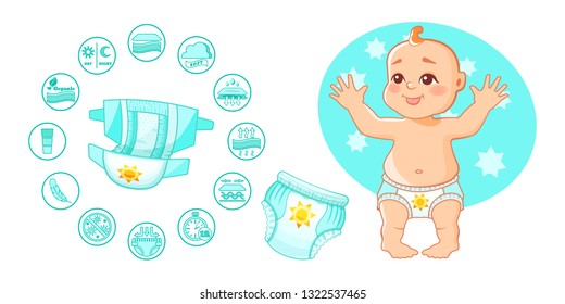 Open baby absorbent diapers, kids pants, with characteristic of badges on infographic. Protection and hygiene of infant. Little character kid, cute boy, standing in diapers. Vector illustration.
