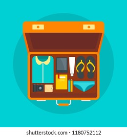 Open bag packing suitcase travel concept background. Flat illustration of open bag packing suitcase travel vector concept background for web design