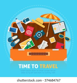 Open baggage, luggage, suitcases with travel icons and objects. Flat style vector illustration.