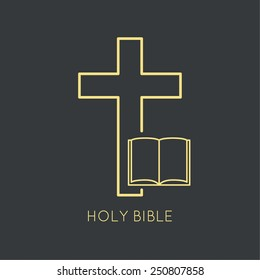 Open Bible with a crucifix.