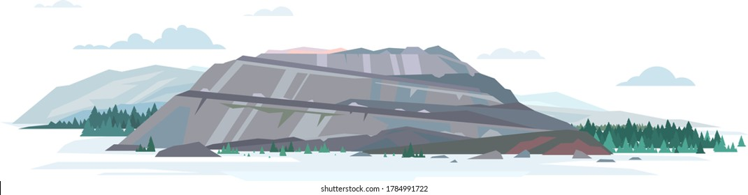 Open big gray pit quarry in mountains with spruce forest, surface mining in flat style isolated illustration, mountaintop removal mining non-ferrous metal