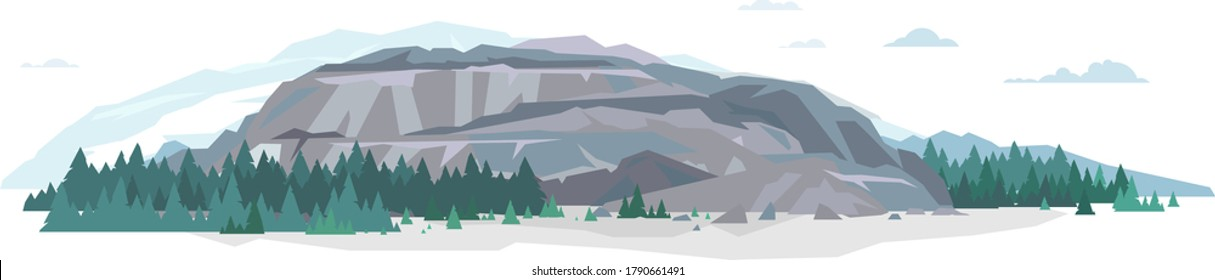 Open big gray rock with spruce forest and stones in flat style isolated illustration, rocks for mountaineering, abandoned quarry