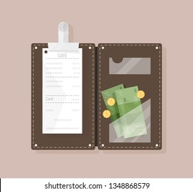 Open bill holder or check presenter with restaurant receipt, money banknotes and coins, top view. Customer's payment for cafe service, tips or gratuity. Colorful vector illustration in flat style.