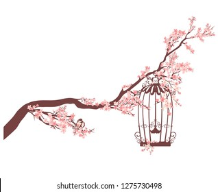 open bird cage among blooming cherry tree branches - spring season nature vector design