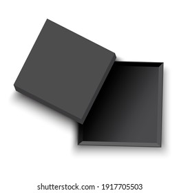 open black box. Parcel packaging template - vector illustration. Top view. Empty open gift box template. Stock image. EPS 10.