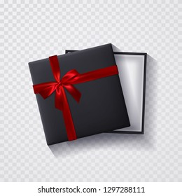Open black empty gift box with red bow and ribbon on transparent background. Top view. Template for your presentation, banner or poster. Vector illustration.