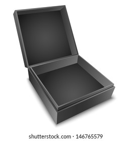 Open black gift box with cover isolated on white. Vector illustration EPS10.