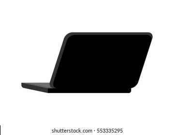 Open black laptop back isolated. notebook pc. Portable computer