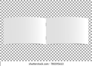 Open blank magazine template on transparent background. Horizontal catalog, book. Mockup booklet. Vector illustration