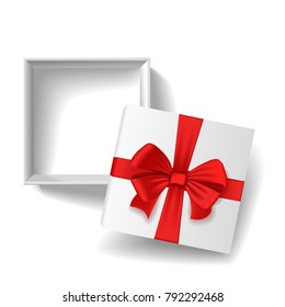 Open a blank white box with lid and red bow.
