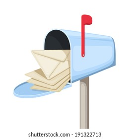 Open blue mailbox with letters. Vector illustration.